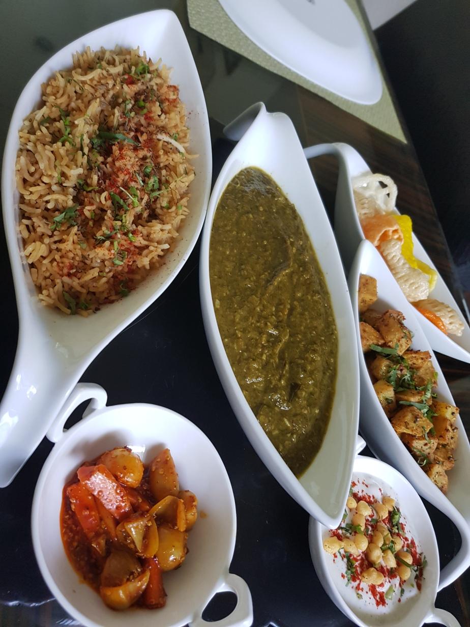 Sindhi Aisi bhaji/sabji (spinach and Ridgegourd)